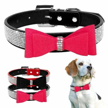 Bow Tie Rhinestones Receiver Sparkly Very Diamonds Studded Suede and Padded Wide Jewellery Collars for Medium and huge Dogs