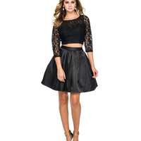 Preorder -  Black Lace Sleeved Two Piece Dress 2015 Homecoming Dresses