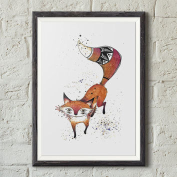 Fox fine art print illustration, Whimsical art, Magical animal, Watercolor, Sharpie, Woodland illustration, Wall art decor, Kids room decor