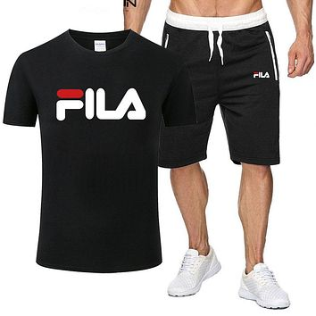 FILA 2019 new casual breathable sports short sleeve suit two-piece Black