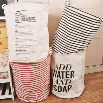 40*50cm Unique Foldable Cotton Linen Washing Clothes Laundry Basket Bag Hamper Storage Box Free Shipping  -39