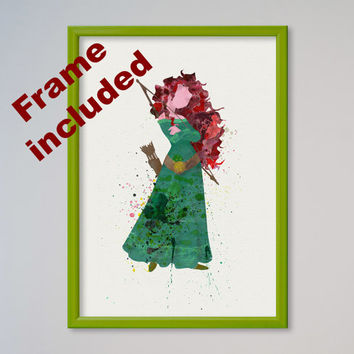Brave Merida Disney Princess Poste Watercolor print Fairy Tale Illustration Disney Picture Kids Nursery art little girl gift FRAMED