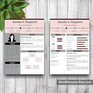 Creative CV Template, Cover Letter, References Word Template, Curriculum Vitae, Professional Resume Template Design,Instant Download,Word CV