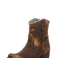 Women's Chocolate-Tan Lamb Abstract Short Top Boot - C1064