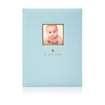 Little Blossoms by Pearhead Sweet Welcome Gold Foil Blue Baby Book