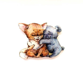 Christmas gift, Animal brooch Fox and koala, Free shipping, gifts under 25