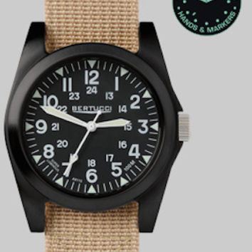 Bertucci 13352 Men's Watch A-3P Sportsman Vintage Field Khaki Band Black Dial