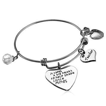 Alxeani Teachers Appreciation Gift Teacher Bangle Bracelet Thank You Gifts for Teachers Nurses  It takes a big heart to shape little minds