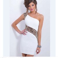 One Shoulder Sexy Cocktail Mini One Piece Dress [4981683844]