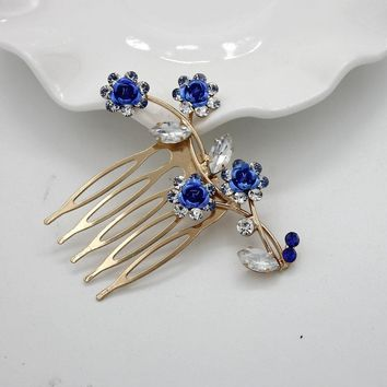 Fashion hair combs Flowers jewelry crystal women hairpins bridal hair ornament handmade wedding accessories Gift
