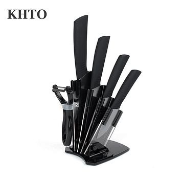 "KHTO Kitchen knives Ceramic Knives Accessories set 3"" Paring 4"" Utility 5"" Slicing 6"" chef Knife+Holder+Peeler Black Blade"
