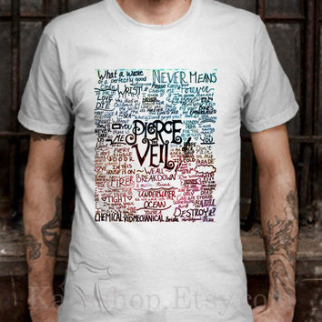 Fan Art Pierce The Veil Song Lyric White Dsign t-shirt men S,M,L,XL