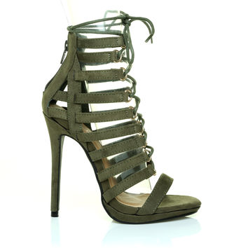 32a010536760a BALI Khaki Green Faux Suede Lace Up Caged Peep Toe Gladiator Hig