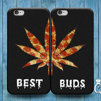 iPhone 4 4s 5 5s 5c 6 6s plus + iPod Touch 4th 5th 6th Generation Cute Best Friend Buds 420 Pizza Leaf Funny Black Phone Cover Bff Fun Case
