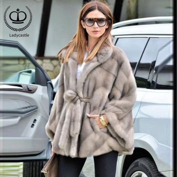 New Arrivall Real Mink Fur Full Pelt Mink Fur Coat For Women Winter Outwear Bat Sleeved Lapel Collar Real Fur Jacket MKW-106