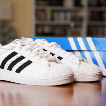 Adidas Superstar II Sneakers White/Black Mens Size 7 *New With Box