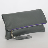 Grey Leather Fold Over Clutch with Silver Hardware & Leather Tassel