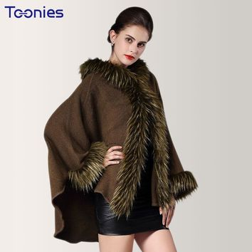2017 Winter Imitation Raccoon Women Hooded Cape and Poncho Coat Female Fur Shawl Knitted Sweater