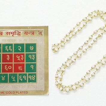 White Tulsi Basil Japamala , Sukha - Samriddhi Yantra , Happiness and Prosperity SACRED GEOMETRY