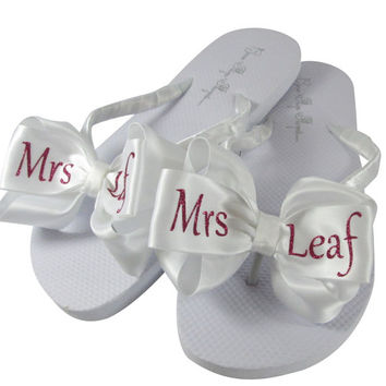 fd26b03a38a9d Hot Pink Glitter Mrs name Flip Flops  Bridal Wedding Flip Flops personalized   any