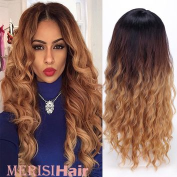 Women's Fashion Long Curly Hair Wig Black To Blonde Ombre Color Hair Curly Wave Synthetic Hair None Lace Front Wig(Color:Blonde)