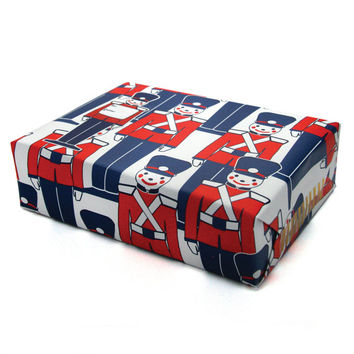 Christmas Gift Wrap with Toy Soldiers in Navy and Red Vintage Soldier Decorations