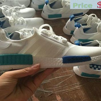Spring Summer 2018 Cheap Priced Unisex Adidas Originals NMD Runner Mesh White Blue Turquoise shoe