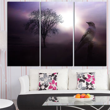New Frameless Oil Painting Sparrow and The Branches Landscape Home Decor Wall Art Purple Canvas Picture for Living Room 3 Pieces