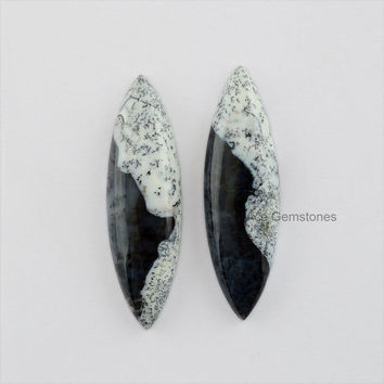 Dendritic Agate Smooth Loose Gemstone Flat Back Cabochon Marquise Pair 10x35 mm Wholesale Gemstone