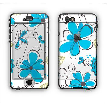 The Abstract Blue Floral Pattern V4 Apple iPhone 6 Plus LifeProof Nuud Case Skin Set