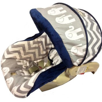 Elephant and Chevron Grey Infant Car Seat Cover for Graco Snugride or Chicco Keyfit 30, Choose your color