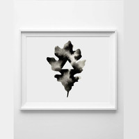 Print - Geometric Triangle Leaf - Print from an Original Watercolor . Oak Leaf Silhouette