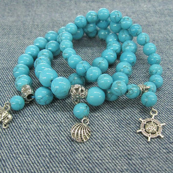 Turquoise Stretch Bracelets Set of 3 sea themed charm bracelets trending stacking summer bracelet blue howlite stone jewelry nautical style