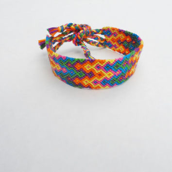 Friendship Bracelet - Colorful Summer Thick Double Arrowhead Pattern - Handmade