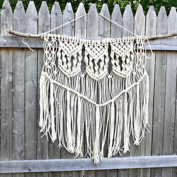 Cotton Macrame Wall Hanging, Wall Decor, Boho Photo Prop, Wedding Backdrop, Baby Photo Prop, Driftwood, Wall Tapestry, Macrame Curtain