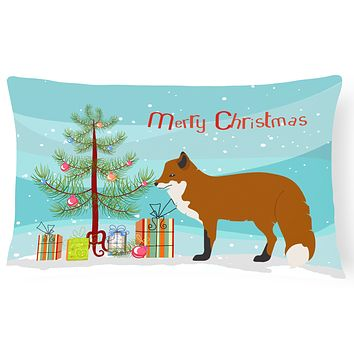 Red Fox Christmas Canvas Fabric Decorative Pillow BB9243PW1216
