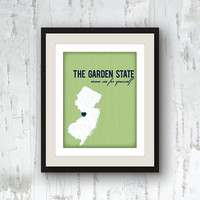 New Jersey art - State print home decor - Garden State - green decor - 8x10 graphic print