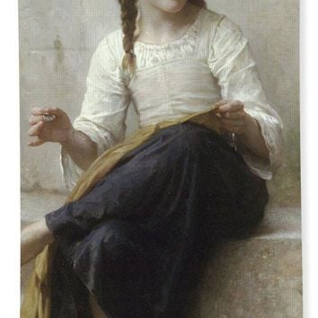 Sewing By Adolphe-William Bouguereau - Beach Towel