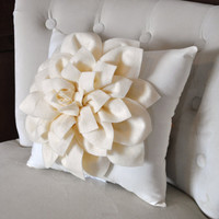 Etsy Transaction - Ivory Dahlia Felt Flower on Ivory Pillow NEW DESIGN -Pick your Colors- Mum Flower Pillow