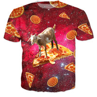 Goat Riding a Pizza in Space