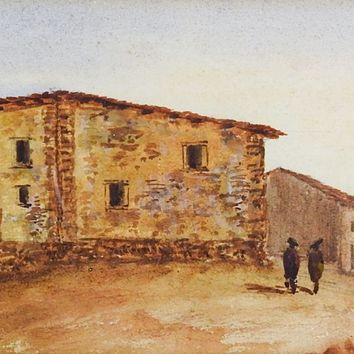French Watercolor Painting of Montalvan Spain