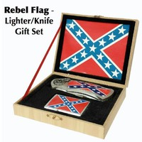 Rebel Flag - Lighter/Knife  Gift Set (M0300)