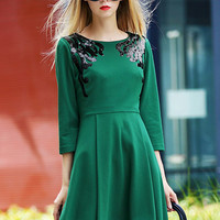 Green Long Sleeve Sequined High Waist A-line Pleated Mini Dress