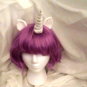 Unicorn Wig Purple Unicorn Horn Costume Wig Short Bob mlp My Little Pony Cosplay