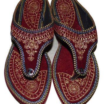 DCCKNY1 Rajasthani-Embroidered-Heel-Wedges-Ethnic-Fashion-Woman-Sandal-Slipper 6