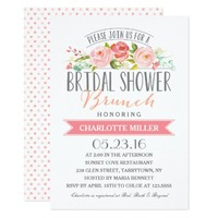 Rose Banner Brunch Bridal Shower Card
