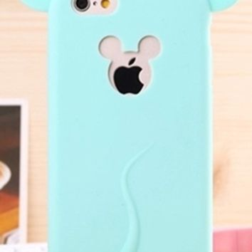 Forever Young Mint Green Mickey Mouse Ears Silicone Phone Case Cover