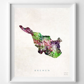 Bremen Map, Germany, Print, Watercolor, German, Europe, Home Town, Poster, Country, Nursery, Wall Decor, Painting, Bedroom, World