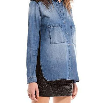 Womens Chambray Shirt - Sexy Sheer Back / Long Sleeve