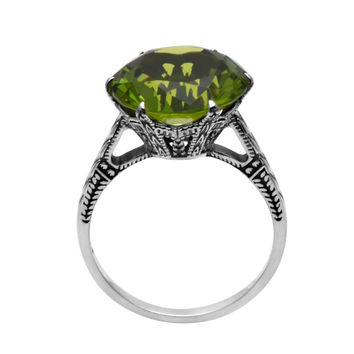 Green 5 Fashion 925 Sterling Silver Wedding Ring Bohemian Antique Jewelry High Quality 925 Sterling Silver Peridot Rings for Women